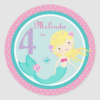 Kleine Meerjungfrau-Aufkleber-Blondine 4 Runder Aufkleber