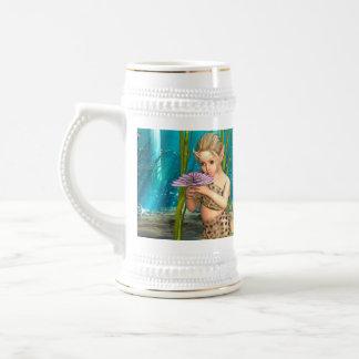 Kleine Meerjungfrau mit Anemonen-Blume Bierglas