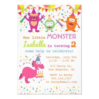 Kleine Monster-Geburtstags-Party Einladung