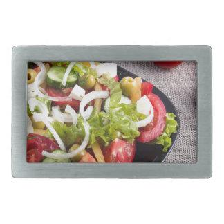 Kleine Platte des natürlichen Salats des rohen Rechteckige Gürtelschnalle