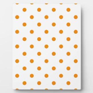 Kleine Polka-Punkte - Mandarine auf Weiß Fotoplatte