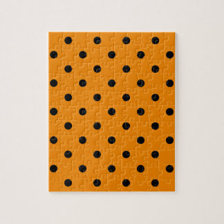 Kleine Polka-Punkte - Schwarzes auf Mandarine Puzzle