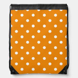 Kleine Polka-Punkte - Weiß auf Mandarine Turnbeutel