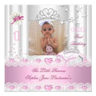 Kleine Prinzessin First Birthday Party Foto Quadratische 13,3 Cm Einladungskarte