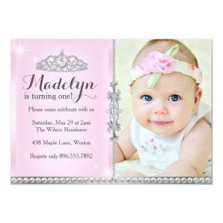Kleine Prinzessin First Birthday Pink Invitation Karte