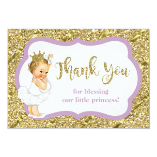 Kleine Prinzessin Thank You Card, Imitat-Glitzer Karte