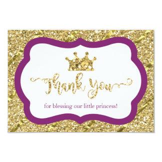 Kleine Prinzessin Thank You Card, lila, Gold 8,9 X 12,7 Cm Einladungskarte