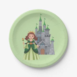 Kleine Prinzessin und Schloss im Grün Pappteller