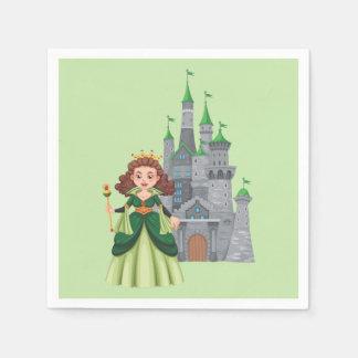 Kleine Prinzessin und Schloss im Grün Serviette