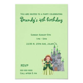 Kleine Prinzessin und Schloss im grünen Geburtstag Karte