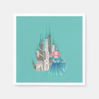 Kleine Prinzessin und Schloss im Türkis Papierservietten