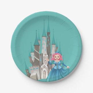 Kleine Prinzessin und Schloss im Türkis Pappteller