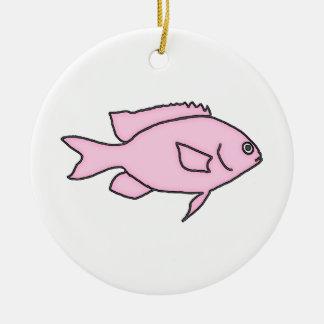 Kleine rosa Fische Keramik Ornament