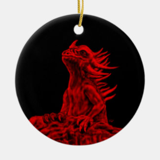 Kleine Rote Drache Keramik Ornament