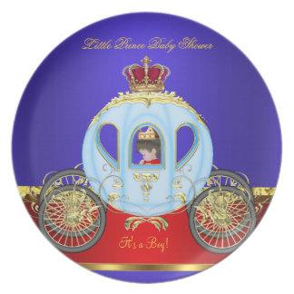 Kleine roter blauer Goldjunge 2 Prinz-Babyparty Flache Teller