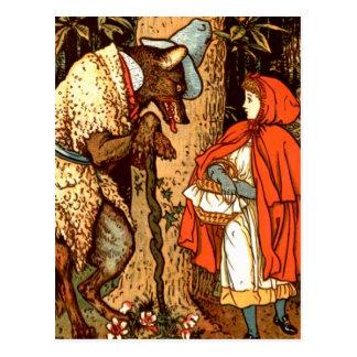 Kleine Rotkäppchen-Fantasie-Märchen Postkarte