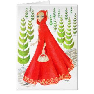 Kleine Rotkäppchen-Karte/Einladung Orig. Kunst Karte