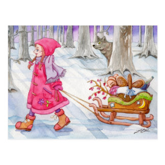 Kleine Rotkäppchen-Postkarte Postkarte