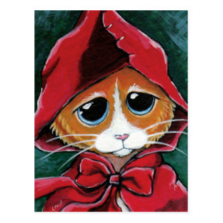 Kleine Rotkäppchen| Tabby-Katzen-Kunst-Postkarte Postkarte