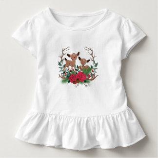 Kleine Rotwild mit Rosen-Hand gezeichneter Kleinkind T-shirt