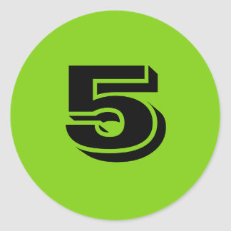 Kleine runde grüne Aufkleber der Nr.-fünf durch