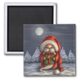 Kleine Sankt mit einem Geschenk Quadratischer Magnet