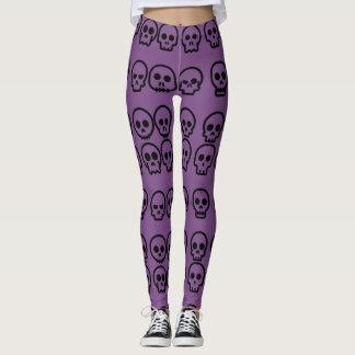 Kleine Schädel-lila Muster Halloweens Leggings