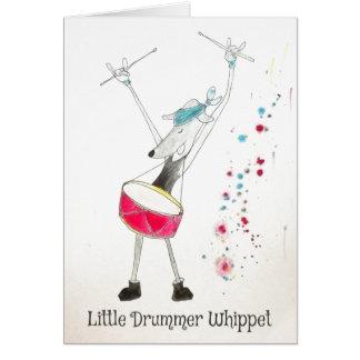 Kleine Schlagzeuger Whippet Weihnachtskarte Karte