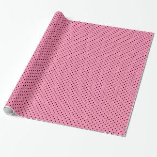 Kleine schwarze Tupfen auf Pink Geschenkpapier