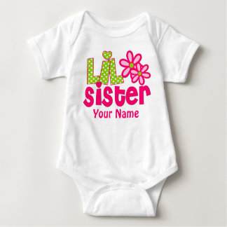 Kleine Schwester-Rosa und grünes personalisiertes Baby Strampler