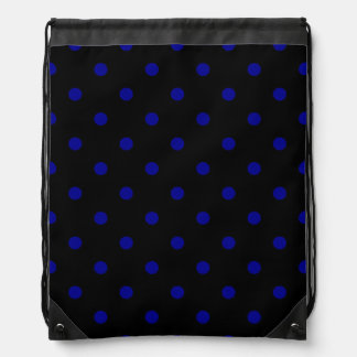 Kleine Tupfen - dunkelblau auf Schwarzem Turnbeutel