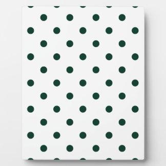 Kleine Tupfen - dunkelgrün auf Weiß Fotoplatte