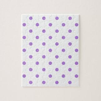 Kleine Tupfen - Lavendel auf Weiß Puzzle