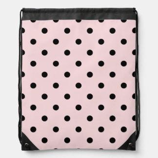 Kleine Tupfen - schwärzen Sie auf blassem - Rosa Sportbeutel