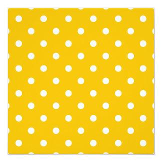 Kleine Tupfen - Weiß auf Bernstein Quadratische 13,3 Cm Einladungskarte