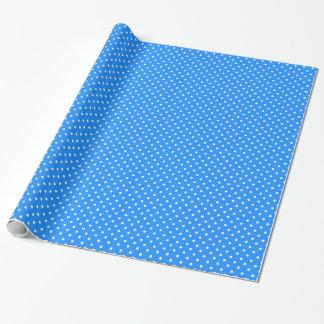 Kleine Tupfen - Weiß auf Dodger-Blau Geschenkpapier