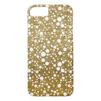 kleine weiße Punkte auf Goldfarbe iPhone 8/7 Hülle