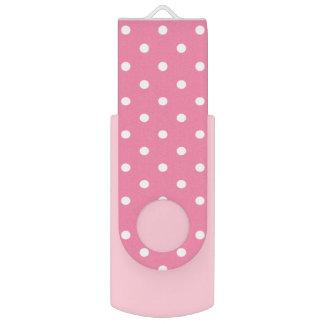 Kleine weiße Tupfen auf Pink Swivel USB Stick 2.0