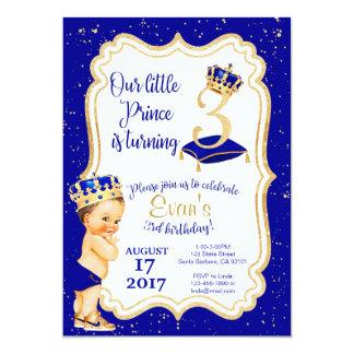 Kleiner 3. Geburtstag Prinz-Birthday Invitation- 12,7 X 17,8 Cm Einladungskarte