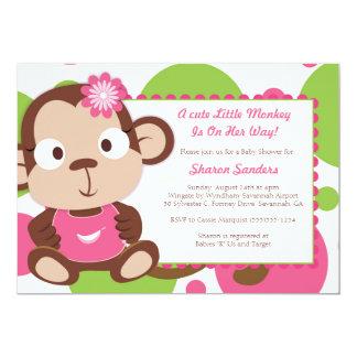 Kleiner Affe - Babyparty-Einladung - MÄDCHEN 12,7 X 17,8 Cm Einladungskarte