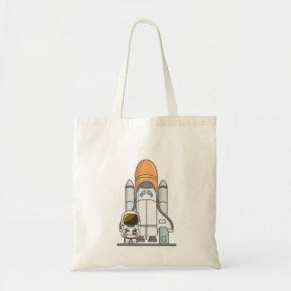 Kleiner Astronaut u. Raumschiff Budget Stoffbeutel