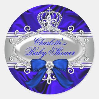 Kleiner Babyparty-Aufkleber Prinz-Königsblau Runder Aufkleber
