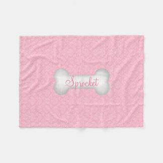 KLEINER Bonbon im rosa Damast-Hundeknochen Fleecedecke