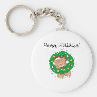 Kleiner Braunbär frohe Feiertage Standard Runder Schlüsselanhänger