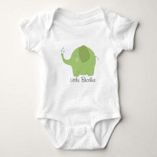 Kleiner Bruder oder Schwester-grünes Elefant-Baby Baby Strampler