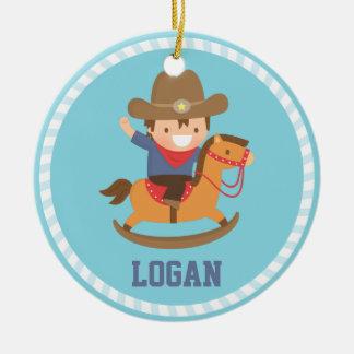 Kleiner Cowboy auf Keramik Ornament