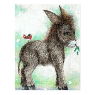 Kleiner Esel-Streber und birdy Freund Robin Postkarte