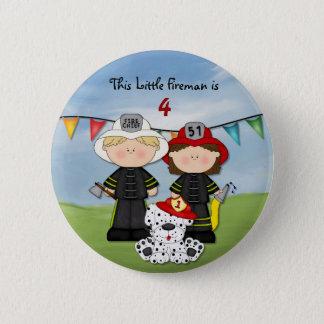 Kleiner Feuerwehrmann-Geburtstag - fertigen Sie Runder Button 5,7 Cm