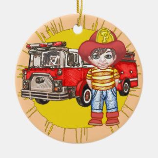 Kleiner Feuerwehrmann Rundes Keramik Ornament