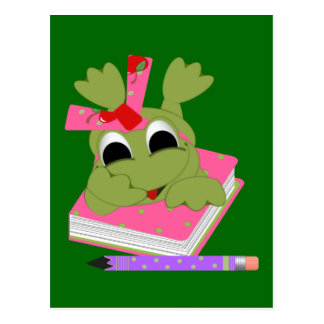 Kleiner Frosch mit Buch und Bleistift Postkarte